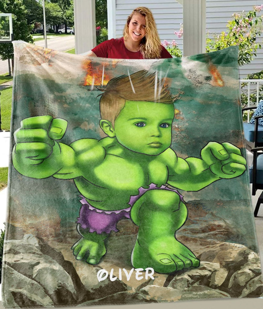 Personalized Hand-Drawing Kid's Photo Portrait Velveteen Plush Blanket III - Made in USA