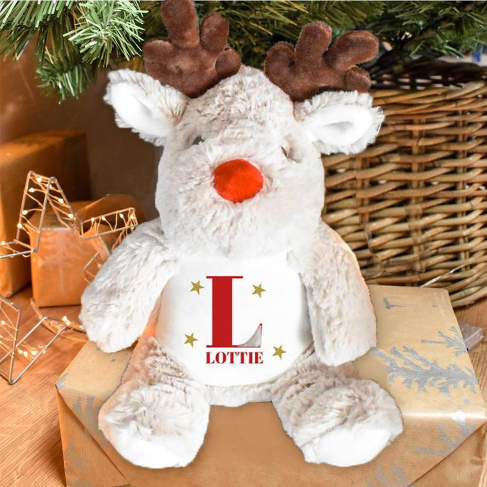 Personalized Starry Reindeer Teddy with Name, Custom Child Christmas Gift