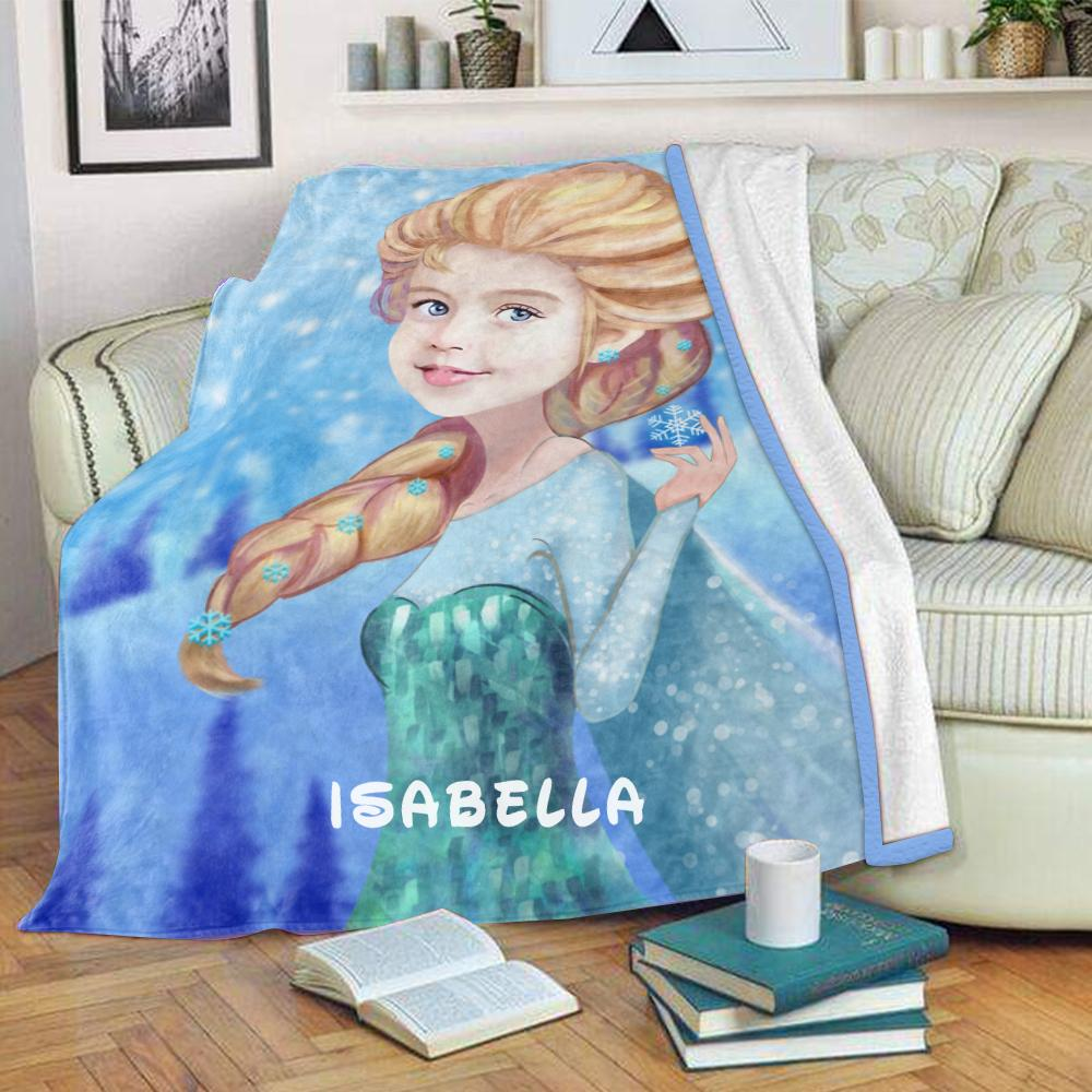 Personalized Hand-Drawing Kid's Photo Portrait Fleece Blanket I