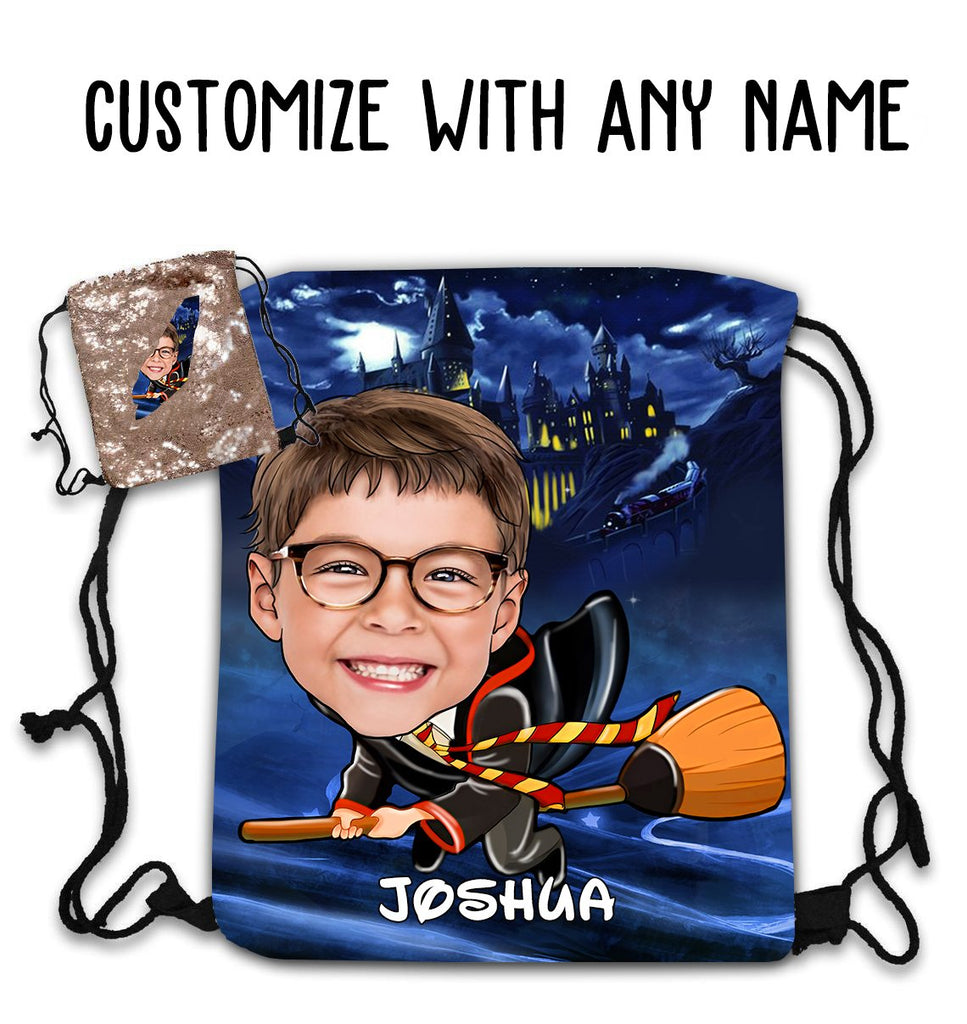 Personalized Hand-Drawing Kid's Portrait Sequin Drawstring Bag VI-BUY 2 SAVE 10%