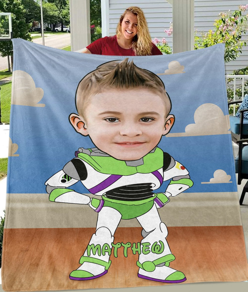 Personalized Hand-Drawing Kid's Photo Portrait Fleece Blanket VIII-BUY 2 SAVE 10%