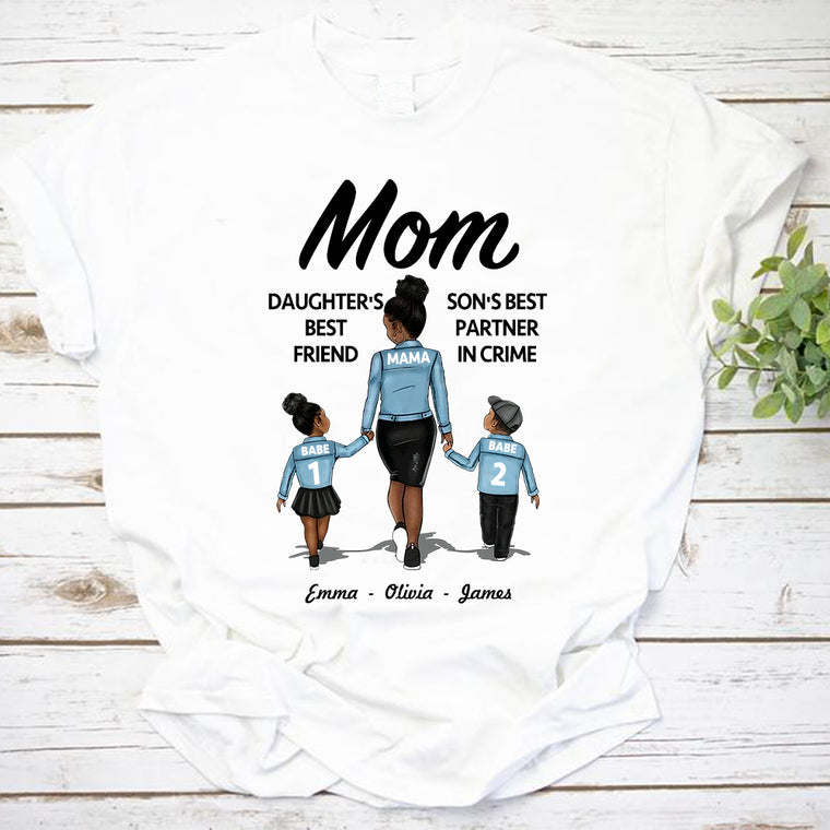 Custom Mom Daughter and Son Unisex Heavy Cotton Tee