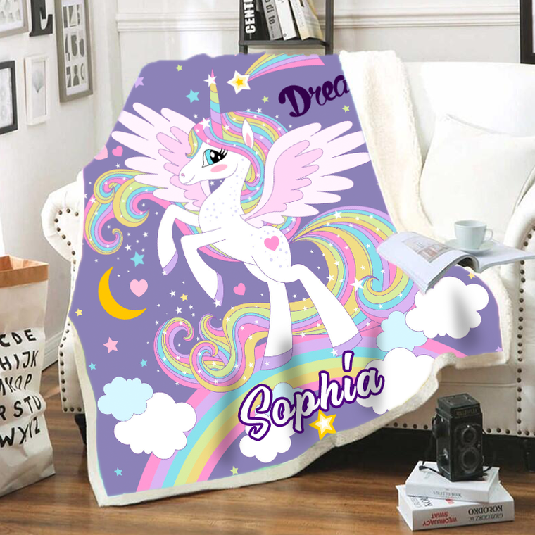 Customized Warm Sherpa Blankets Unicorn Ⅳ