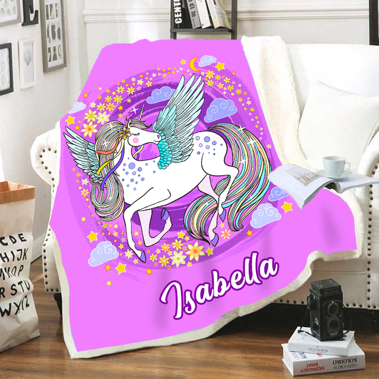 Customized Warm Sherpa Blankets Unicorn III