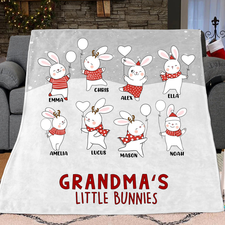 Personalized Christmas Family Member Bunny Fleece Blanket