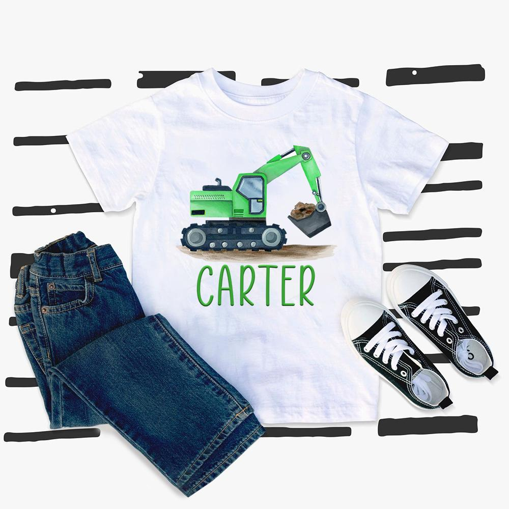 Custom Name Construction Truck Kids Heavy Cotton Tee VI