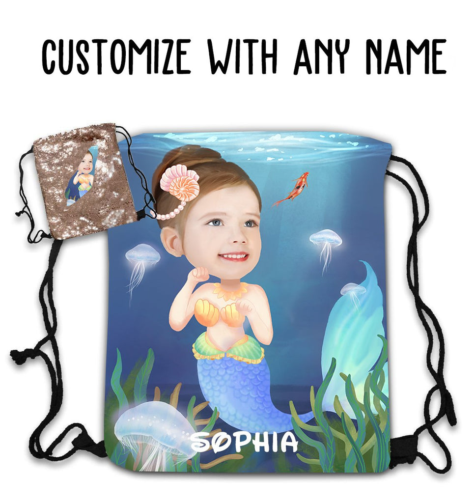 Personalized Hand-Drawing Kid's Portrait Sequin Drawstring Bag VII-BUY 2 SAVE 10%