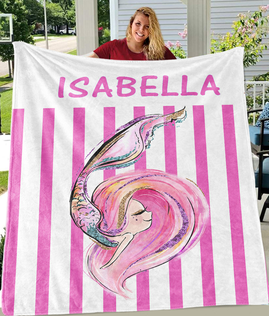 Custom Name Glitter Mermaid Fleece Blankets I