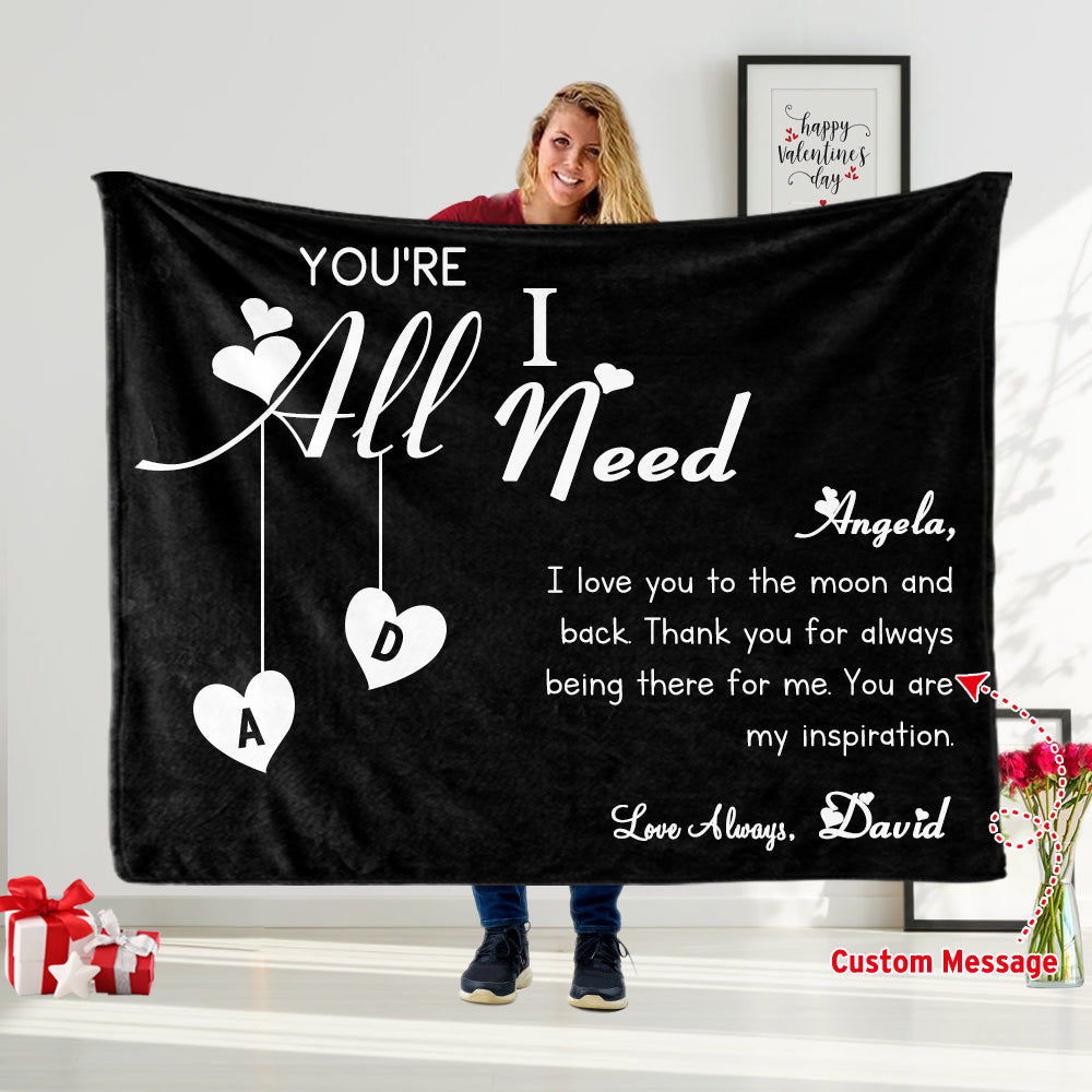 Custom Love Letter Valentine's Day Blanket with Names