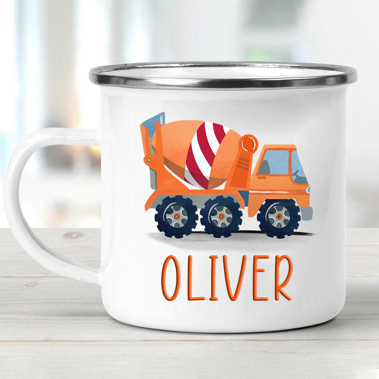 Custom Name Truck Children's Enamel Campfire Mug III