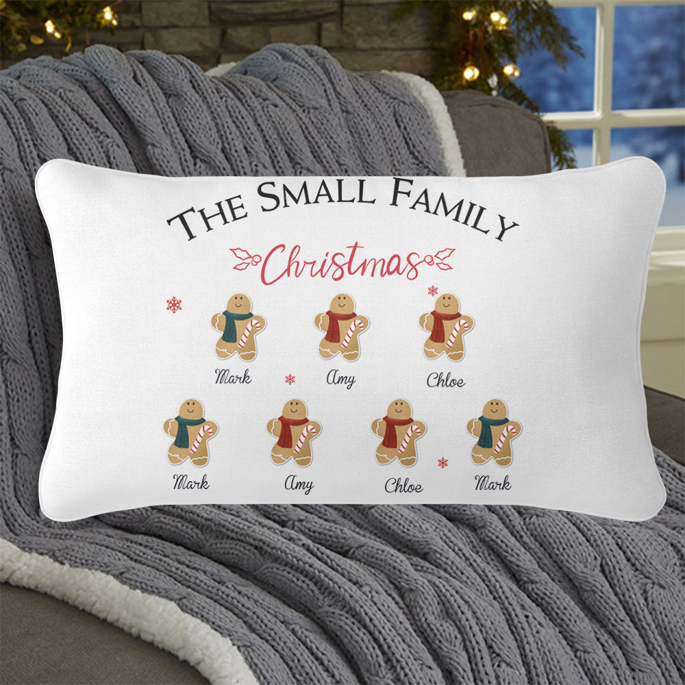 Personalized Gingerbread Christmas Family Pillowcase With Name II
