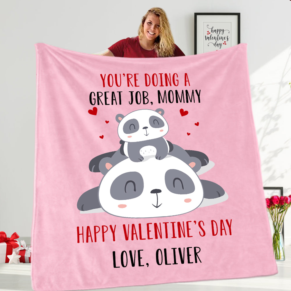Custom Name Panda Valentine's Day Baby Onesie, Mom Shirt, Fleece Blanket