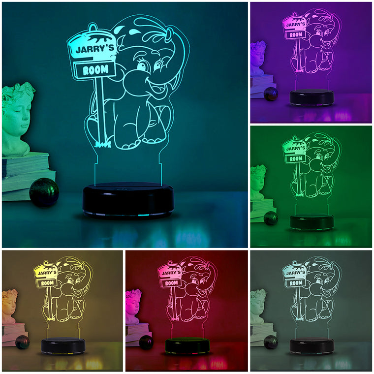 Custom Name Elephant Acrylic Night Light