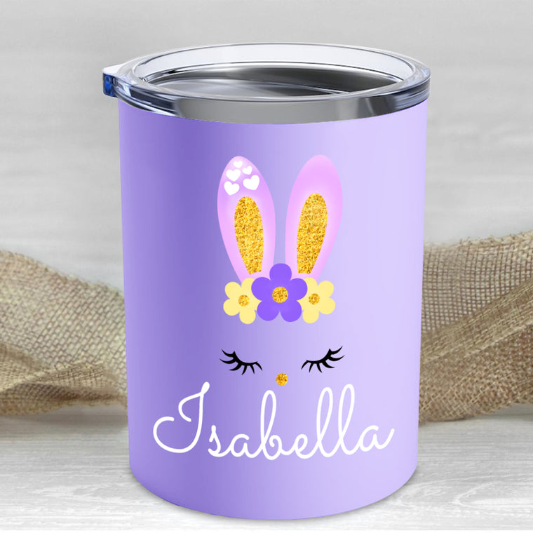 Custom Name Rabbit Children's Travel Drink Tumbler 10oz XV