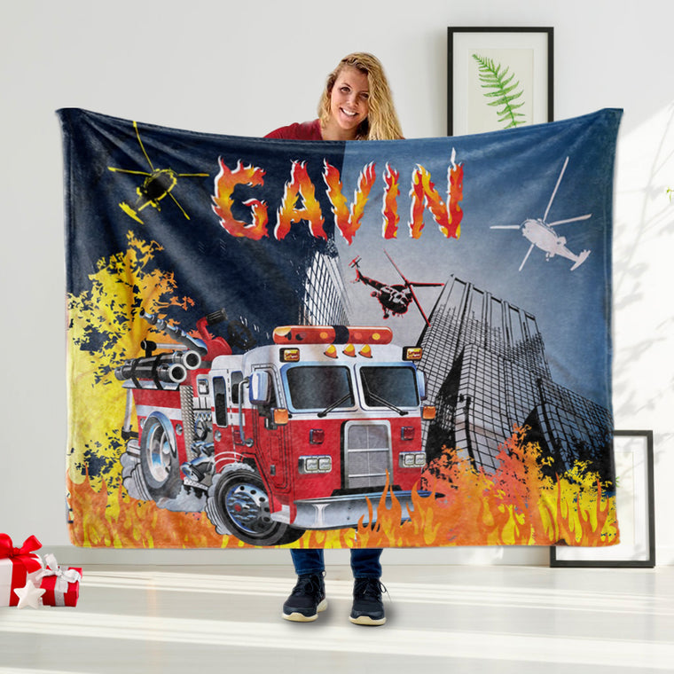 Personalized Fire Truck Name Blanket, Baby Blanket for Fire Fighter Boy, Funny Boy Name Blanket