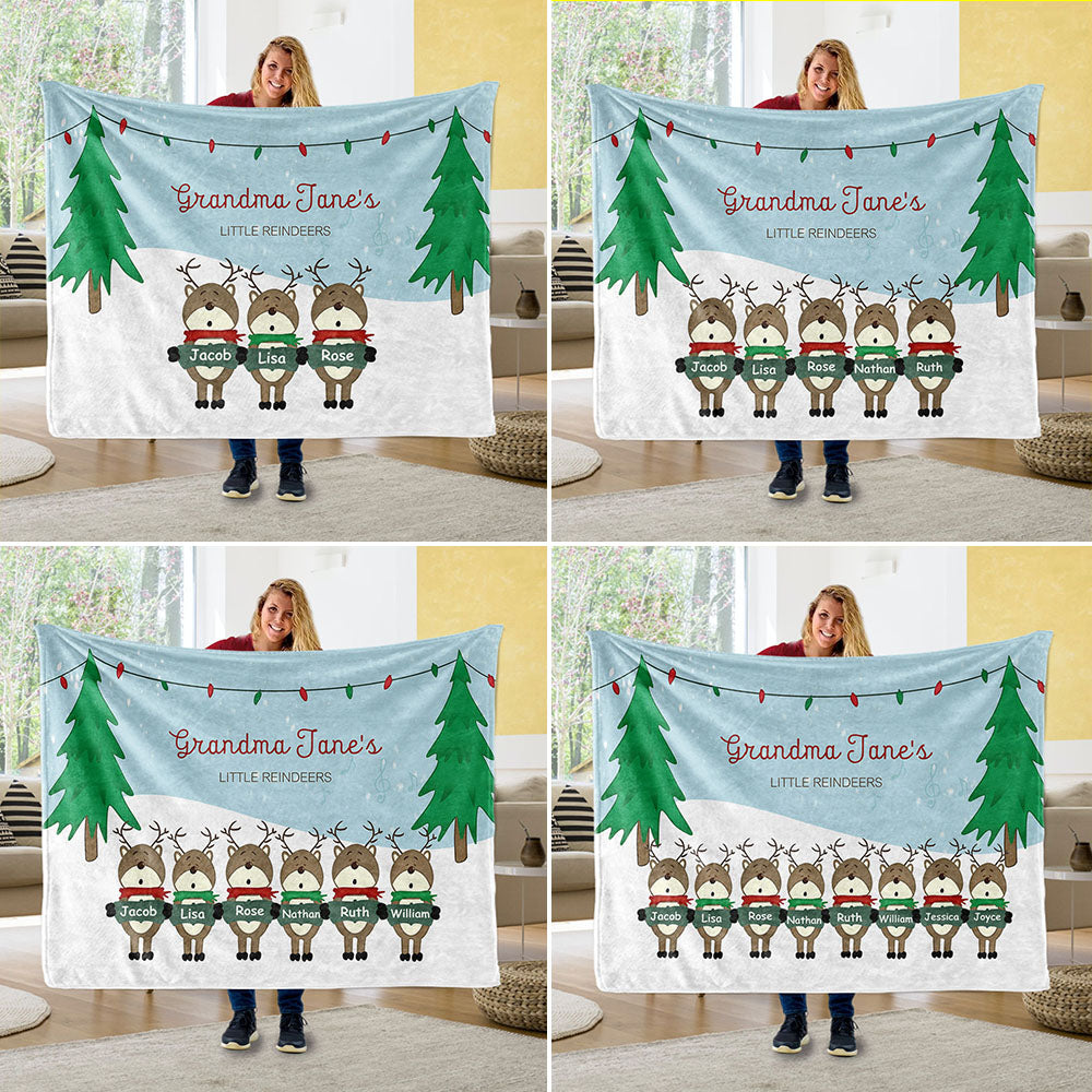 Personalized Christmas Family Member Fleece Blanket II