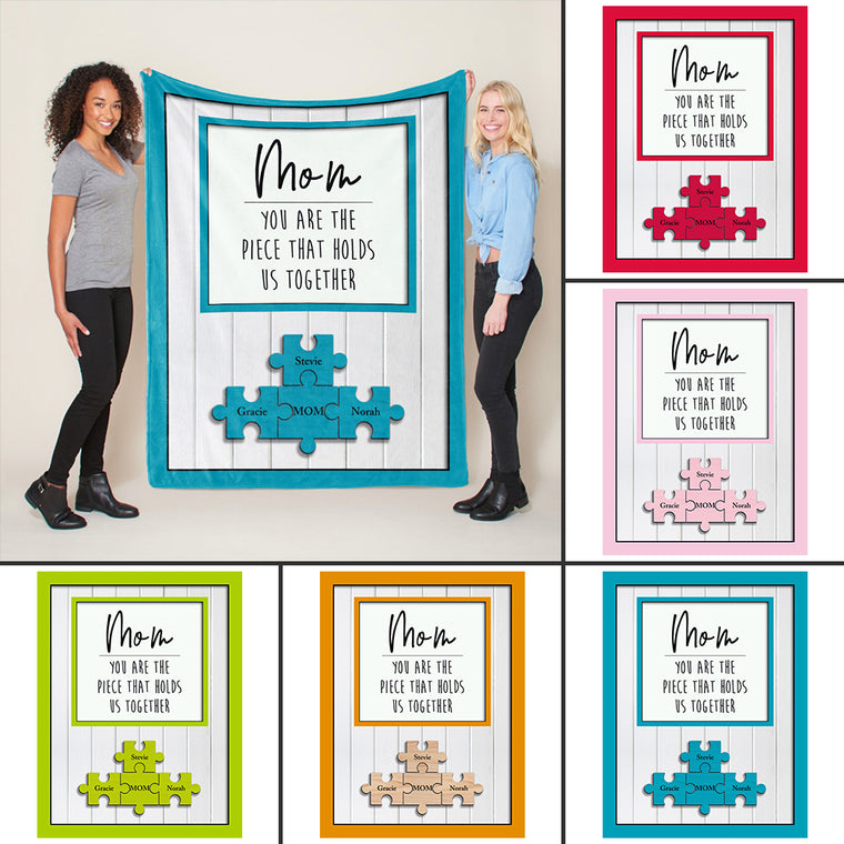 Personalized Mother's Day Puzzle Sign Fleece Blanket-Gift for Mom