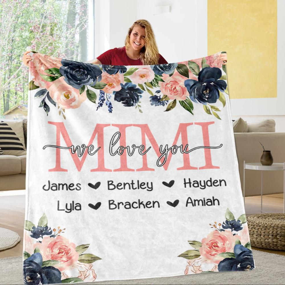 Custom Watercolor Floral Cozy Plush Fleece Blankets with Your Nick & Kids' Names- BUY 2 SAVE 10%