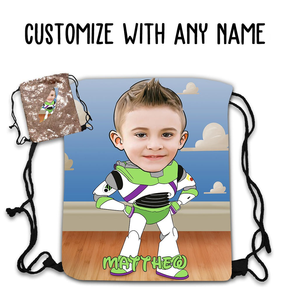 Personalized Hand-Drawing Kid's Portrait Sequin Drawstring Bag VIII-BUY 2 SAVE 10%