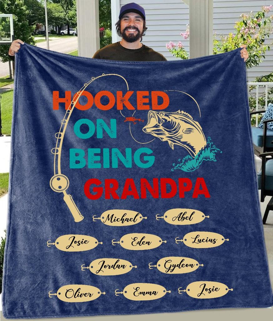 Hooked On Being Grandpa Custom Title Children Names Fleece Blankets - Perfect Birthday Holiday Gifts for Dad Uncle & Grandpa