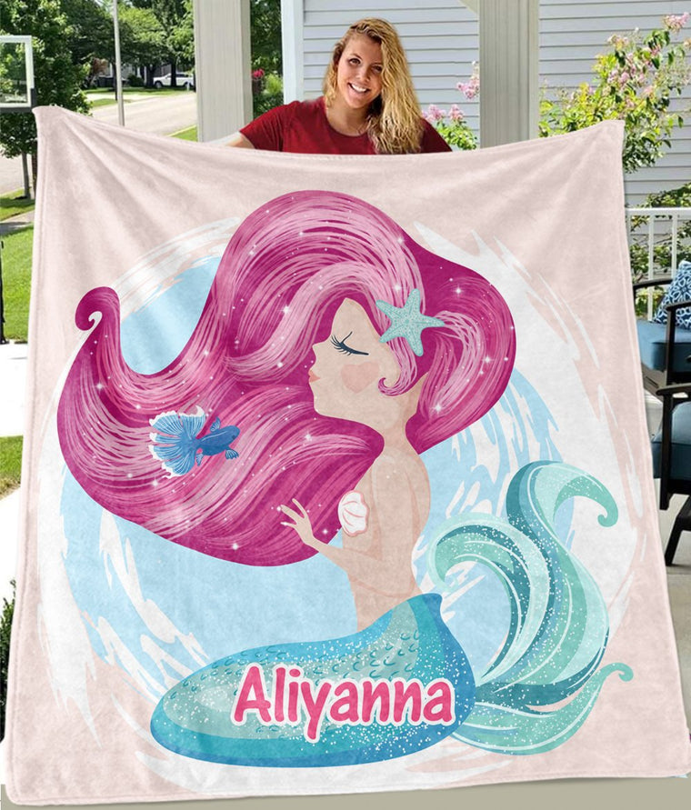 Custom Name Mermaid Cozy Plush Fleece Blanket II