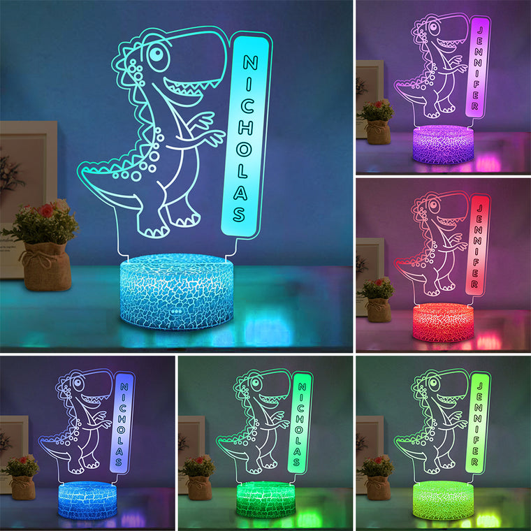 Personalized Name Dinosaur LED Night Light, Custom Nursery Baby Kids Room Name Sign Gift