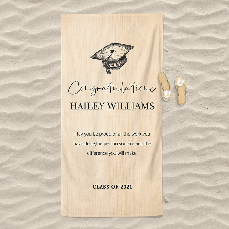 Class Of 2021 Personalized Name Graduation Beach Towel IX