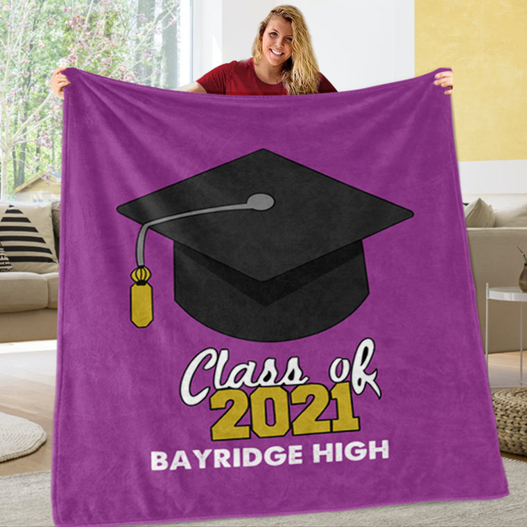 Personalized Graduation Fleece Blanket for Class Of 2021 I