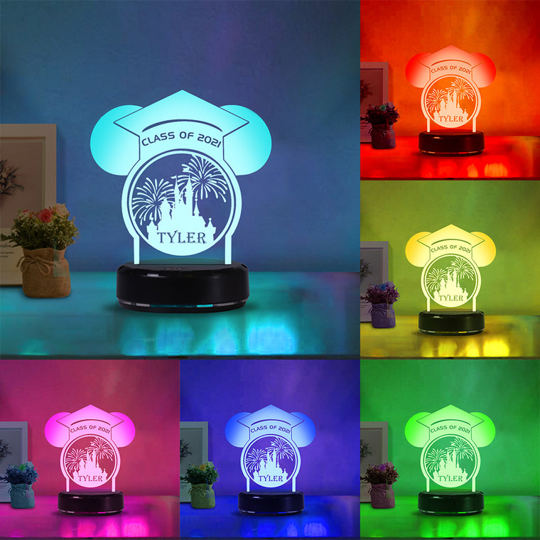 Custom Name Graduation Firework Acrylic Night Light--7 Colors