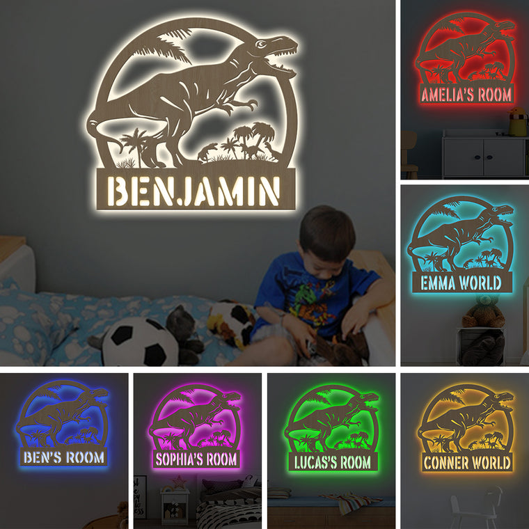 Custom 7-Color Dinosaur Wooden Wall Light-Custom Name Home Nursery Boy Kids Room Decor