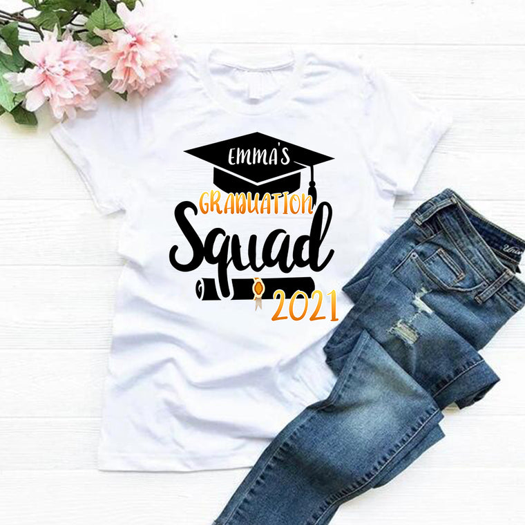 Custom Name Graduation Squad Unisex Tee, Gold Font