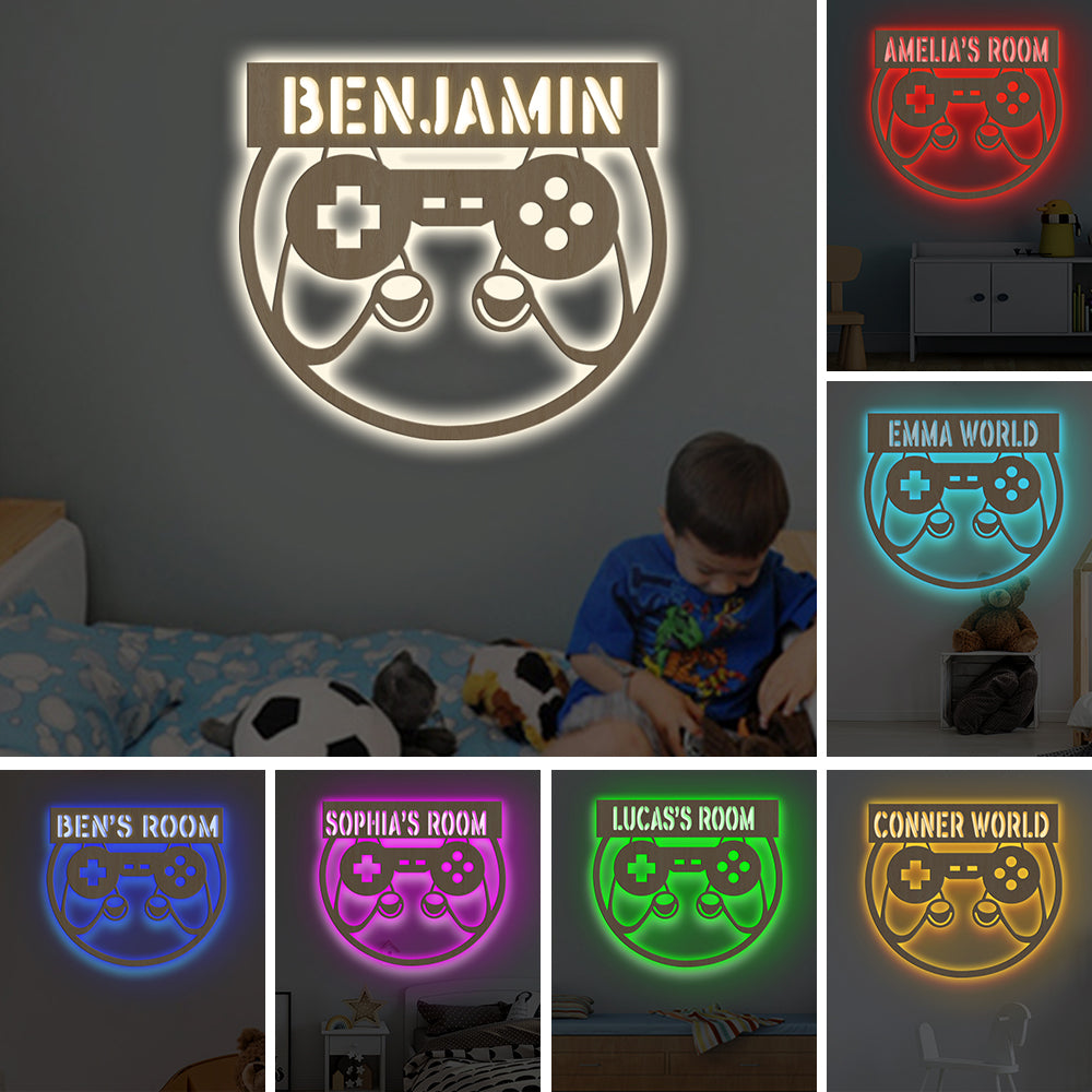 Special Personalized 7-Color GAMEPAD Wooden Wall Light-Custom Name Home Nursery Kids Room Decor
