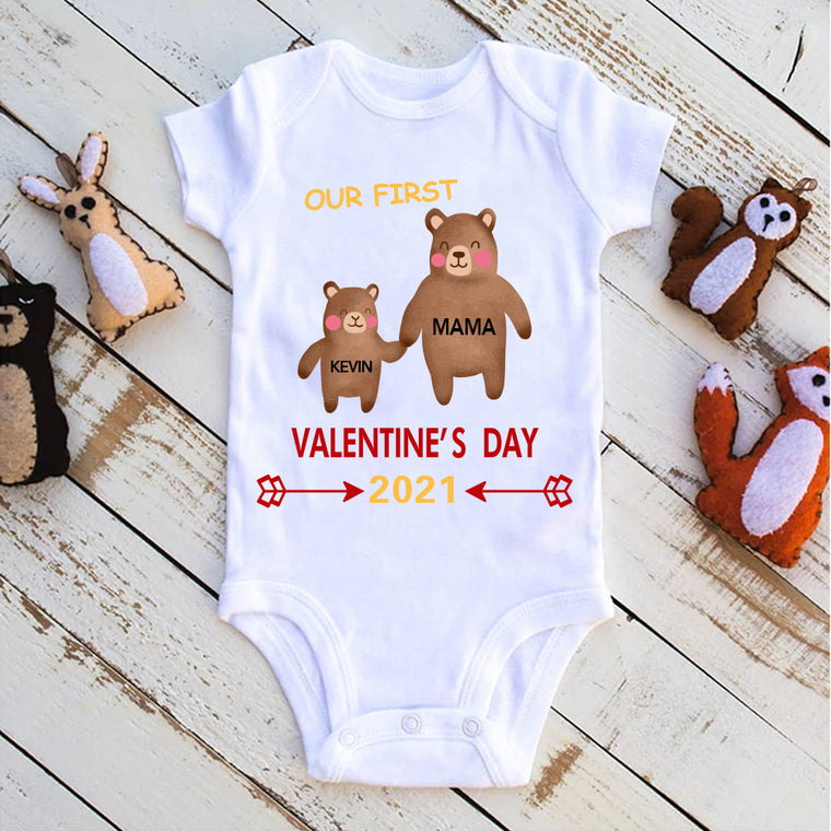 Personalized Name Bear Mama & Baby Valentine's Day Baby Onesie, Mom Shirt, Fleece Blanket