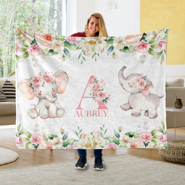 Custom Initial & Name Pink Floral Elephant Fleece Blankets - BUY 2 SAVE 10%