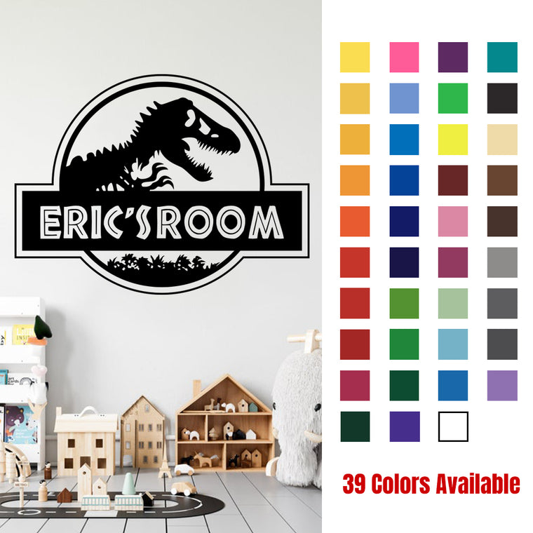Personalized Dinosaur Name Room Wall Decal-39 Colors Available
