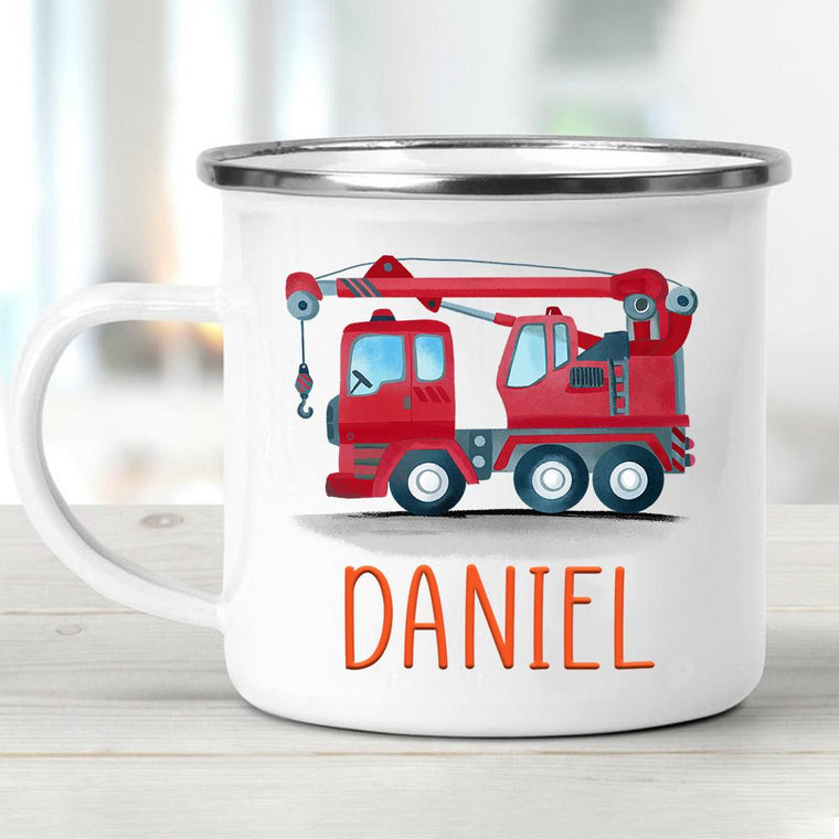 Custom Name Truck Children's Enamel Campfire Mug V