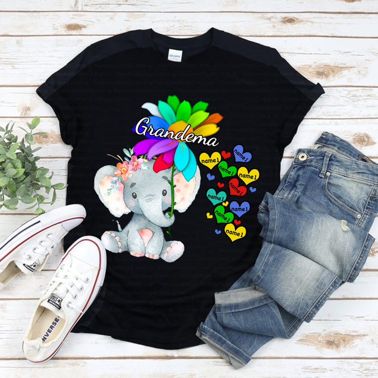 Custom Name Flower Elephant Unisex Heavy Cotton Tee