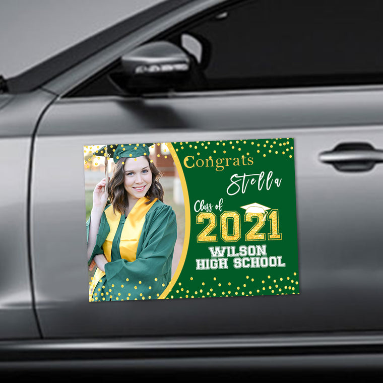 Custom Photo Graduation Car Magnets Green Background