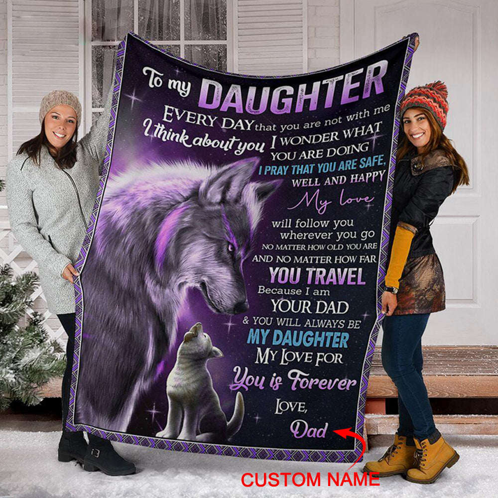 Personalized To My Daughter Fleece Blanket With Custom Name V
