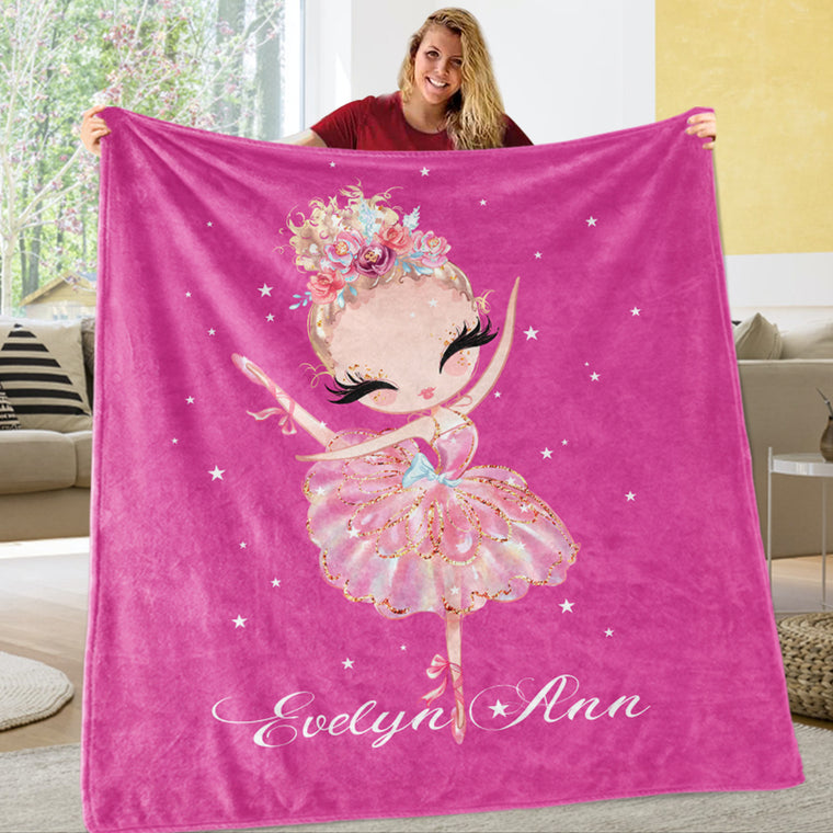 Personalized Name Dancing Girl Cozy Plush Fleece Blankets Passion Pink