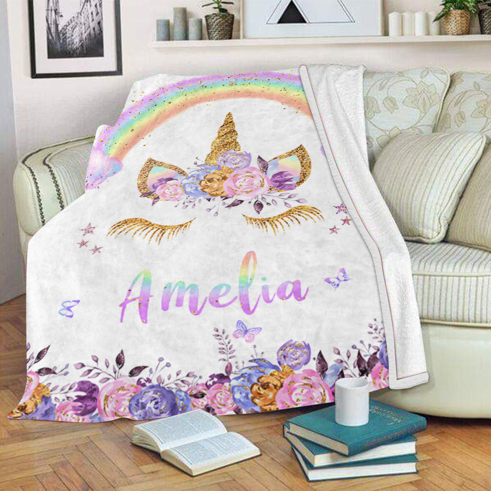 Custom Floral & Rainbow Unicorn Fleece Blanket with Name