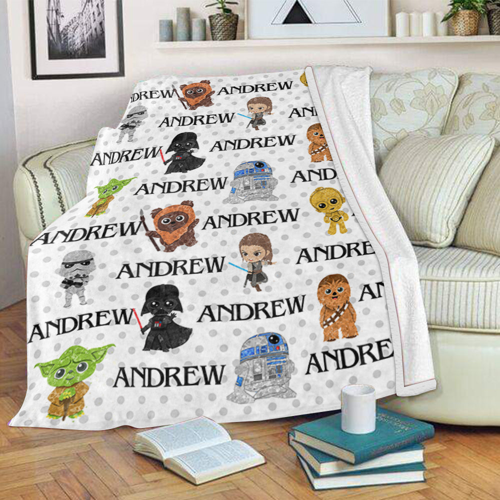 Personalized Name Cartoon Cozy Plush Fleece Blankets I