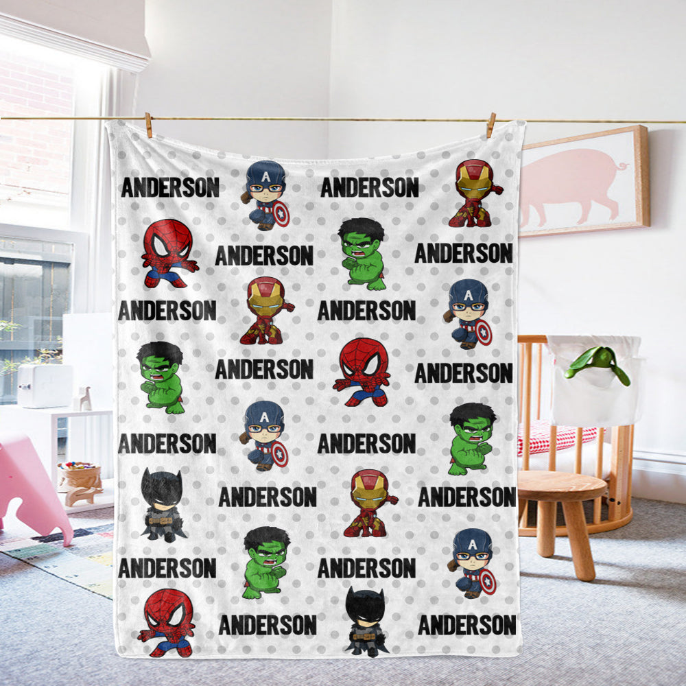 Personalized Name Cartoon Cozy Plush Fleece Blankets II
