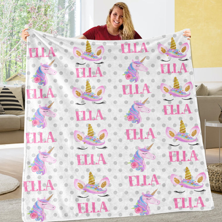 Custom Name Unicorn Cozy Plush Fleece Blankets