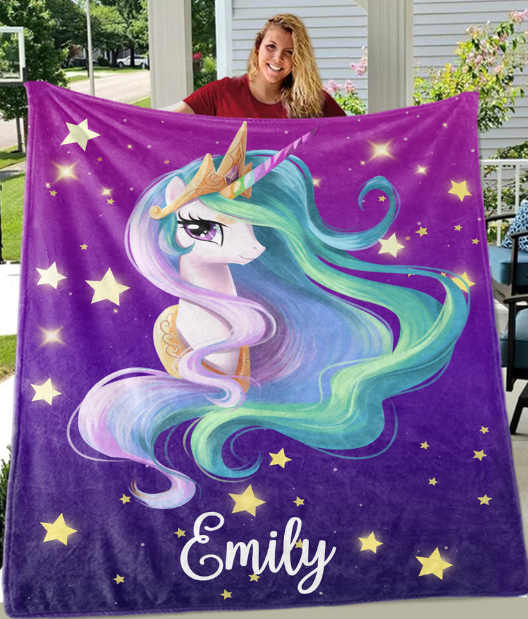 Custom Name Unicorn Fleece Blanket with Star Background