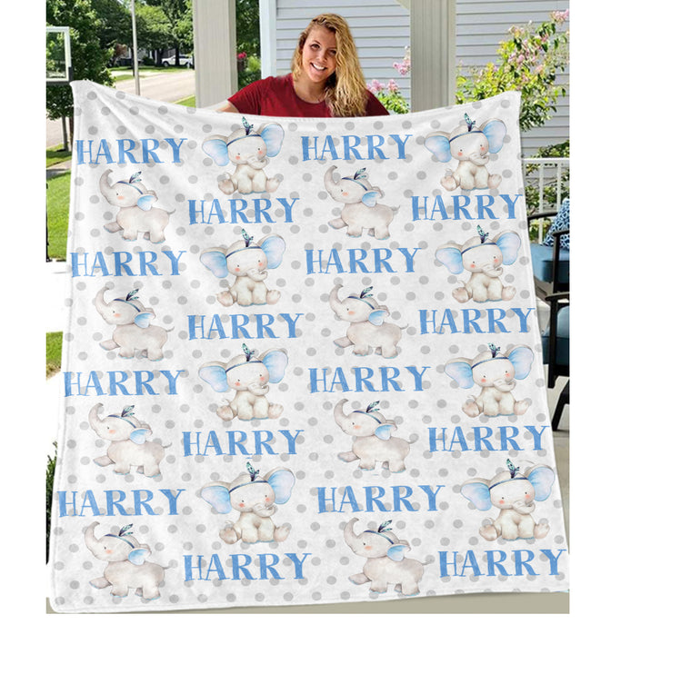 Personalized Name Blue Elephant Fleece Blankets