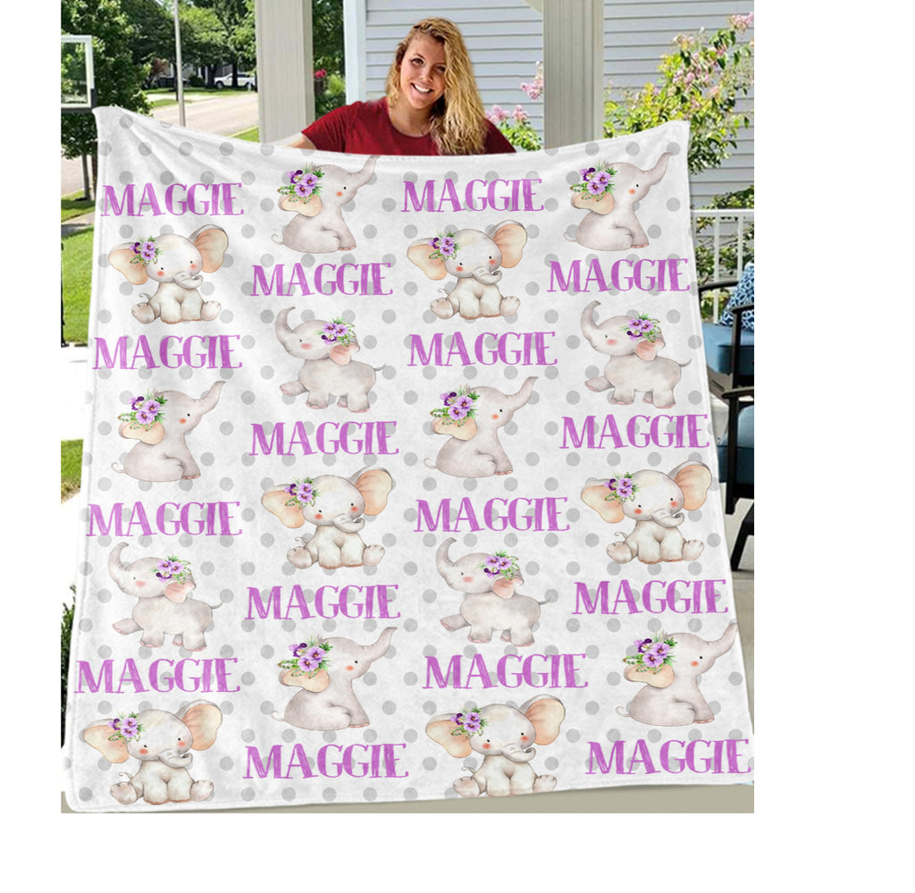 Personalized Name Purple Floral Elephant Fleece Blankets