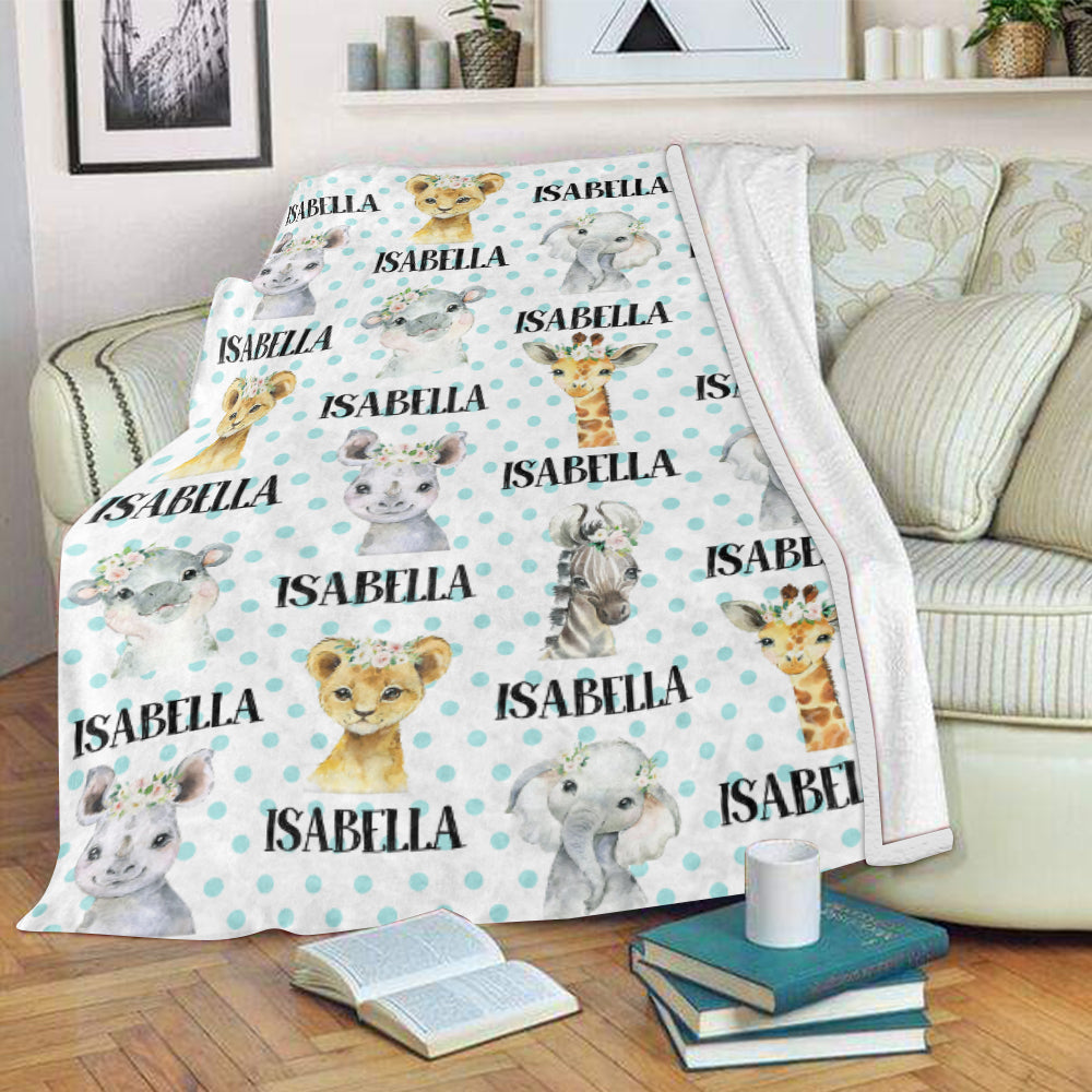 Personalized Name Floral Animal Fleece Blankets