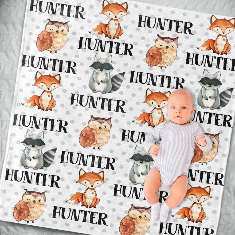 Personalized Name Woodland Fleece Blankets IV