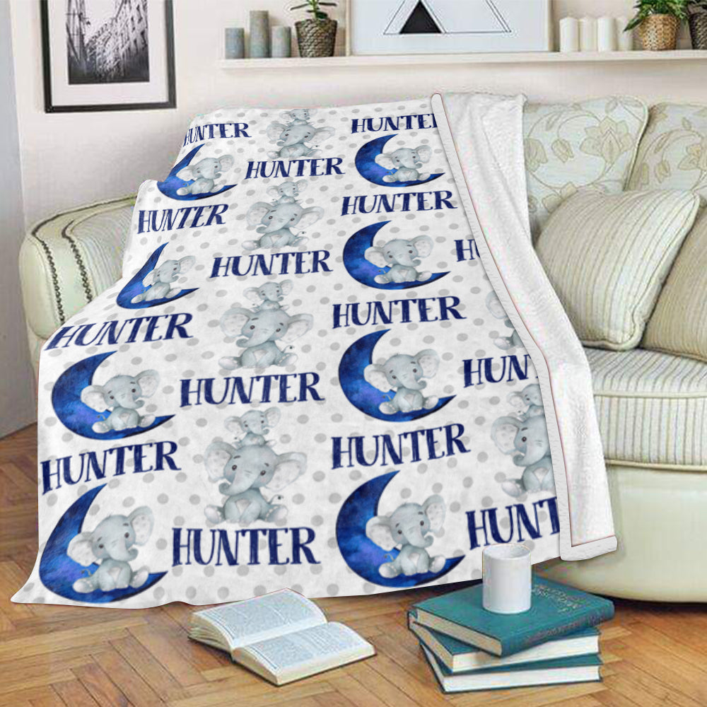 Personalized Name Blue Moon Elephant Fleece Blankets